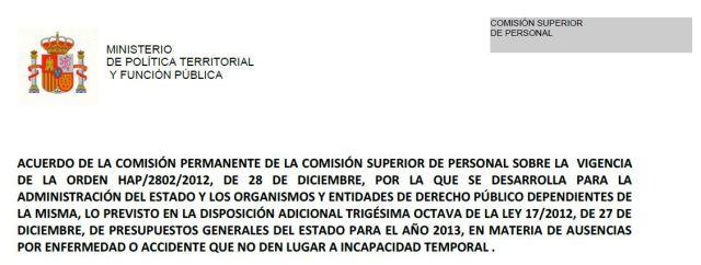 Acuerdo de la Comisión Superior de Personal en materia de ausencias por enfermedad o accidente